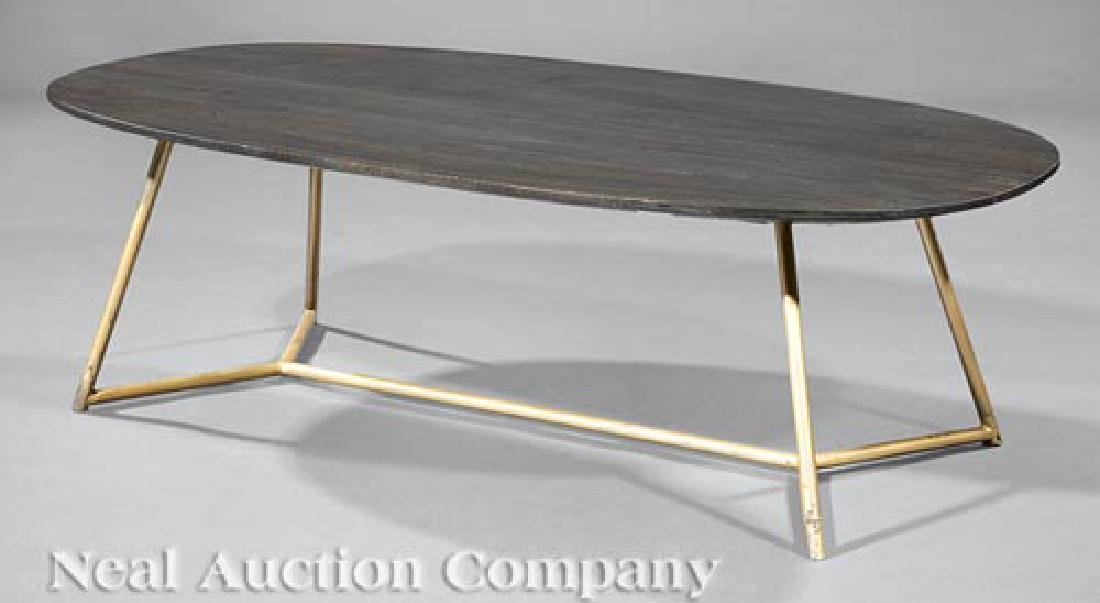 Painted Wood and Enameled Metal Coffee Table