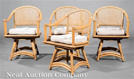 Mid Century Ficks Reed Rattan Swivel Patio Chairs Jul 15 2018