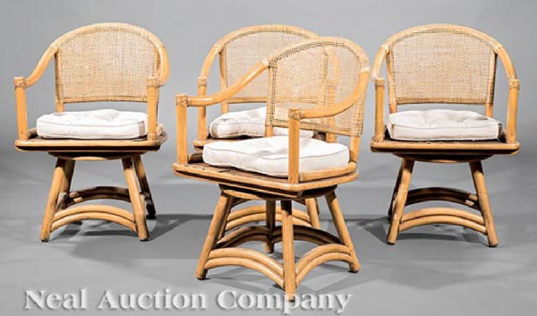 Mid-Century Ficks Reed Rattan Swivel Patio Chairs