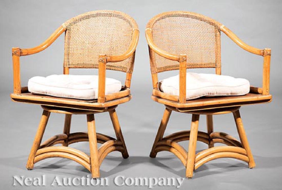 Mid-Century Ficks Reed Rattan Swivel Patio Chairs - 2