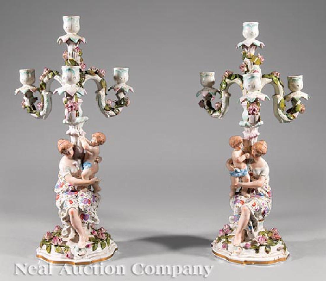 German Porcelain Figural Three-Light Candelabra