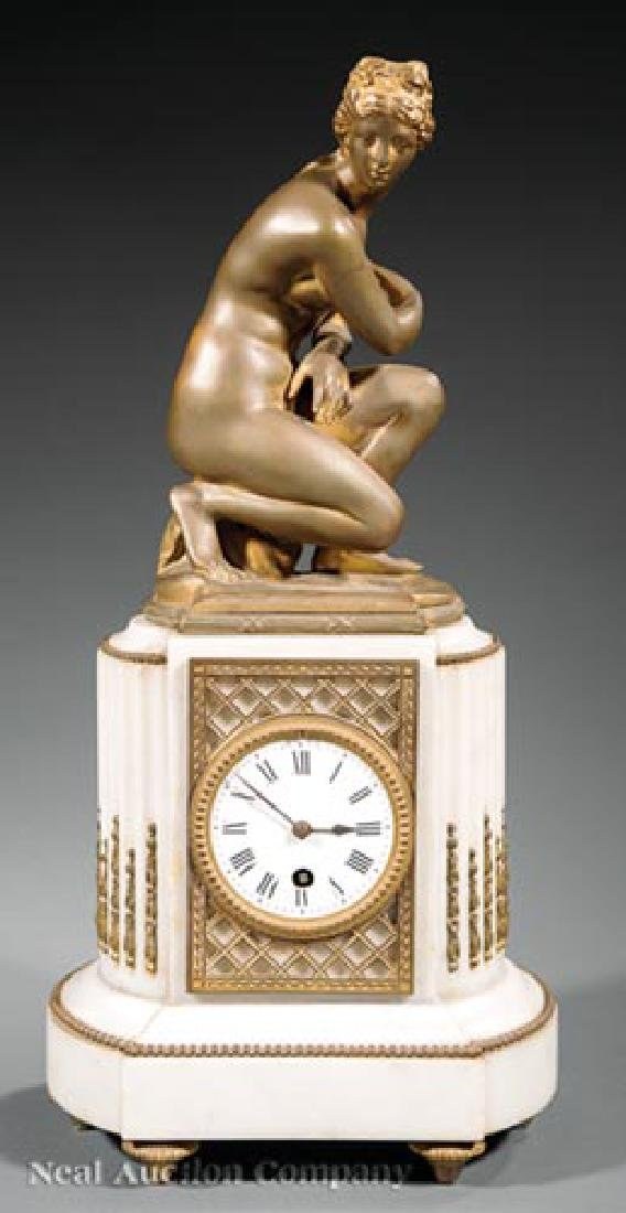 Bronze and Marble Figural Mantel Clock - 2
