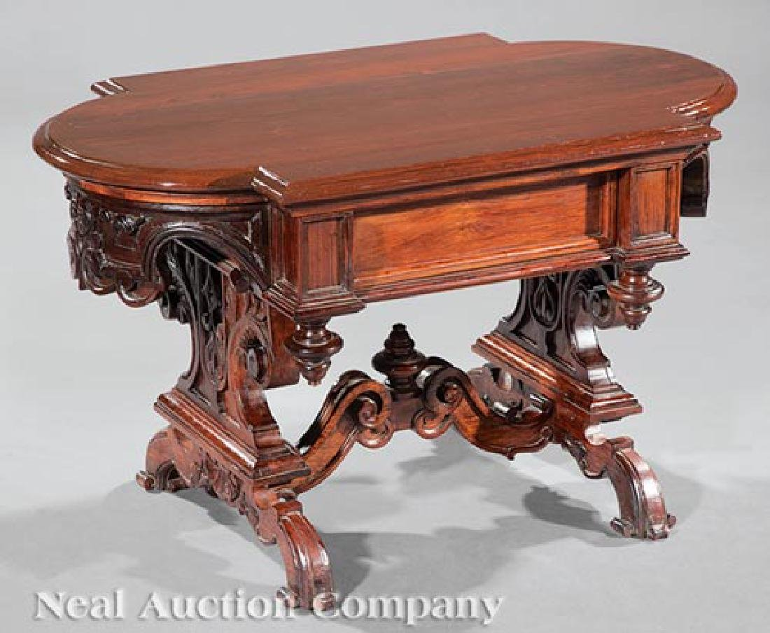 American Carved Walnut Low Table