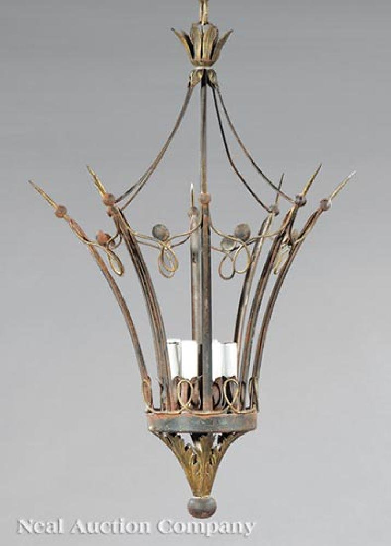 Continental Patinated Metal Crown-Form Chandelier