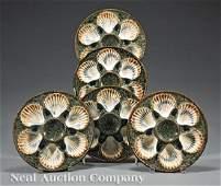 Five Longchamp Majolica Oyster Plates
