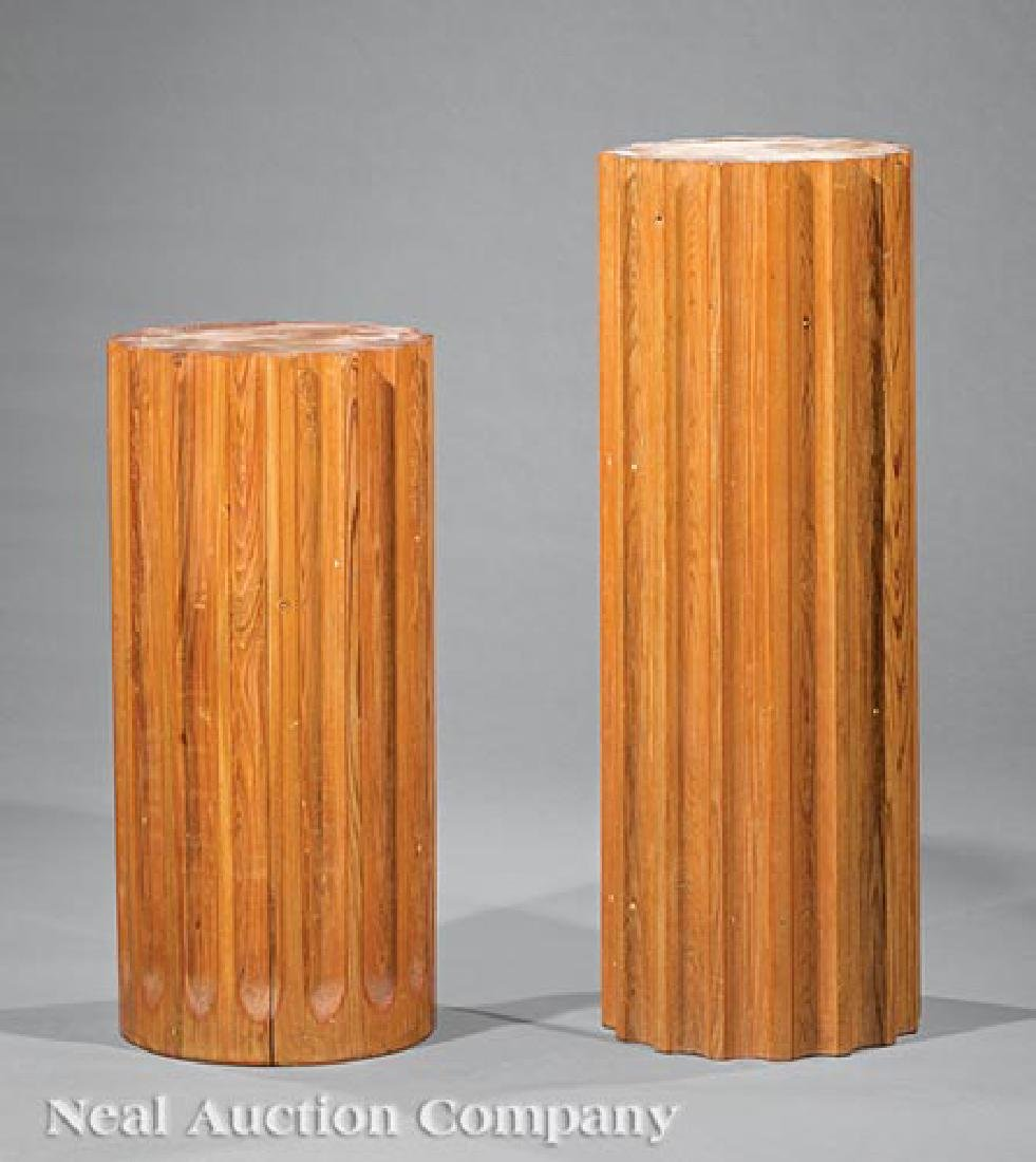 Two American Fluted Cypress Pedestals