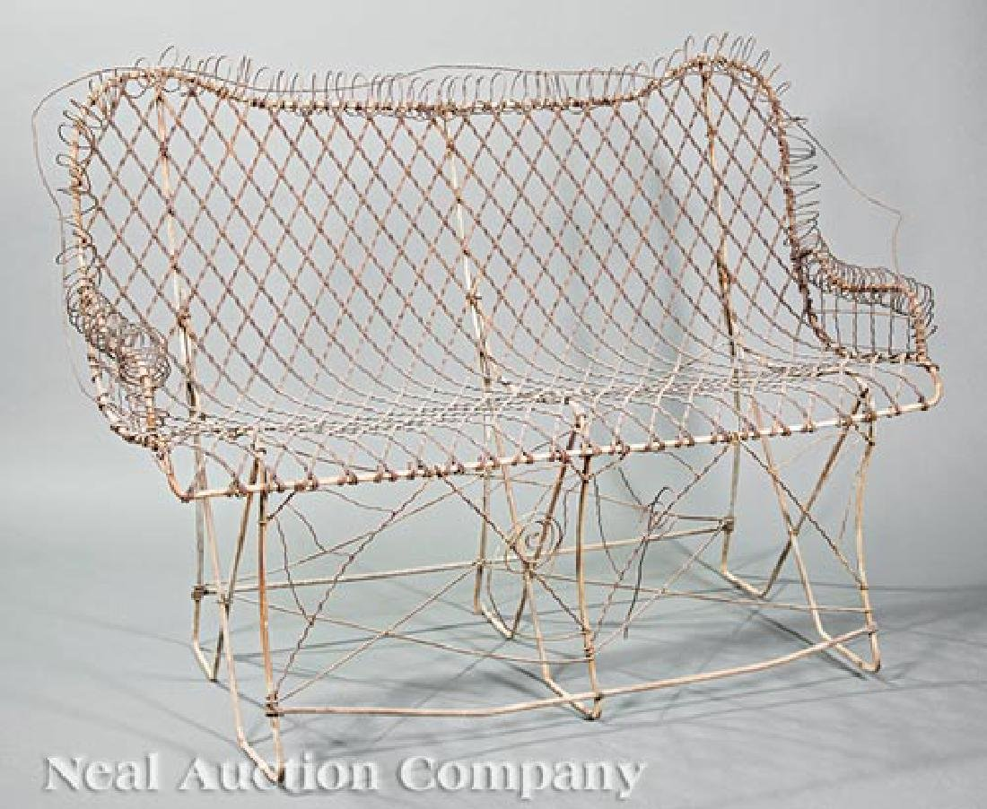 Wrought Iron and Wirework Garden Bench