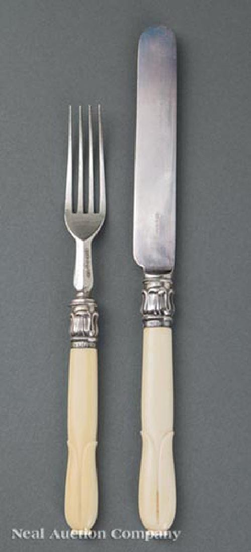 English Silver and Ivorine Luncheon Forks/Knives