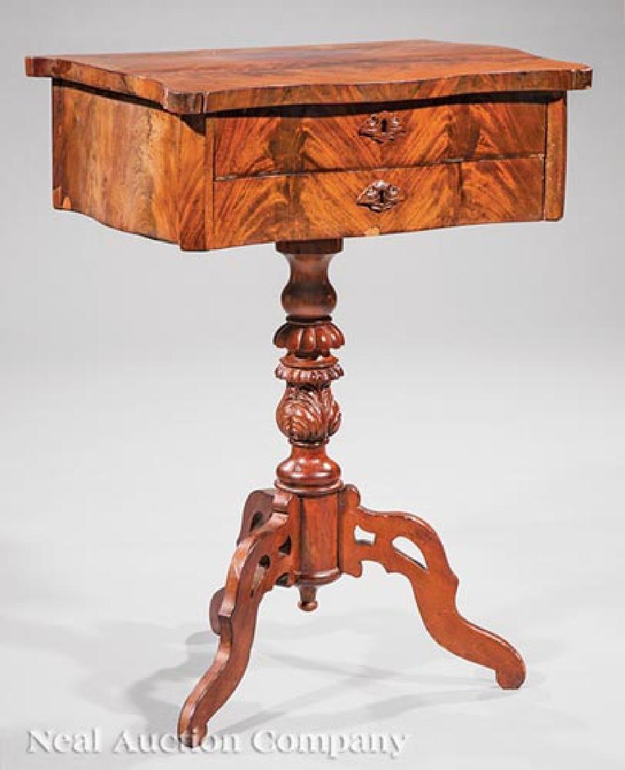 American Classical Figured Mahogany Work Table