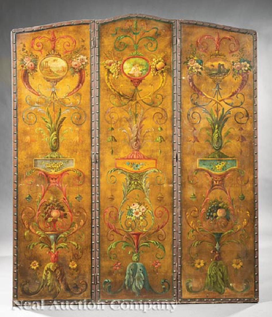 Polychrome Painted Leather Three Panel Screen