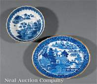 Blue and White Porcelain Dish and Bowl