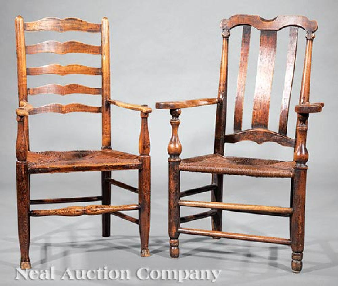 Two English Elm Armchairs - 2
