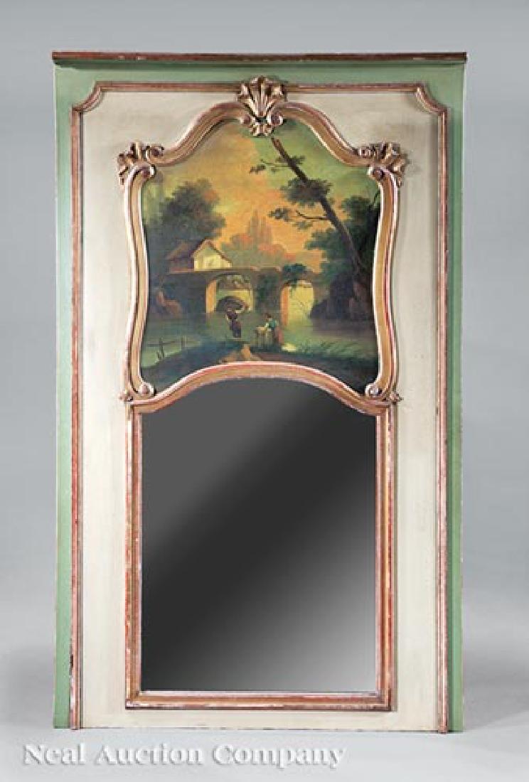Gilt-Decorated, Verte Crème Peinte Trumeam Mirror