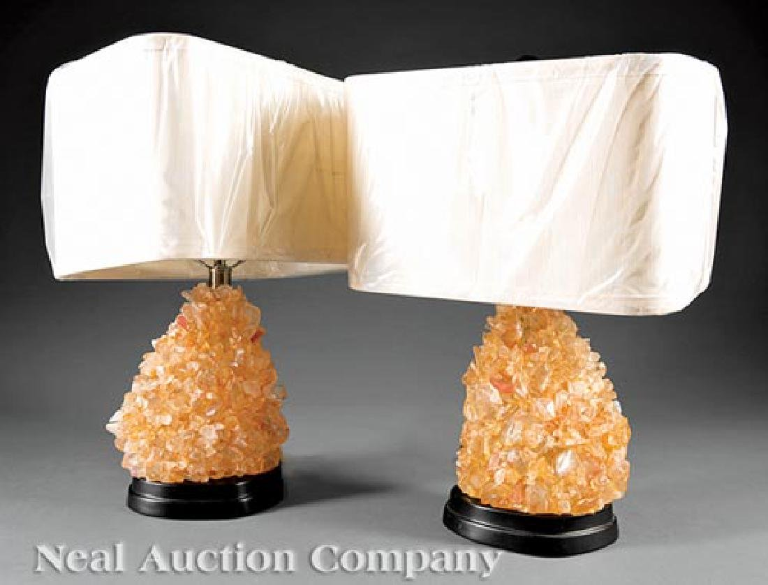 Pair of Rock Crystal Cluster Lamps - 2