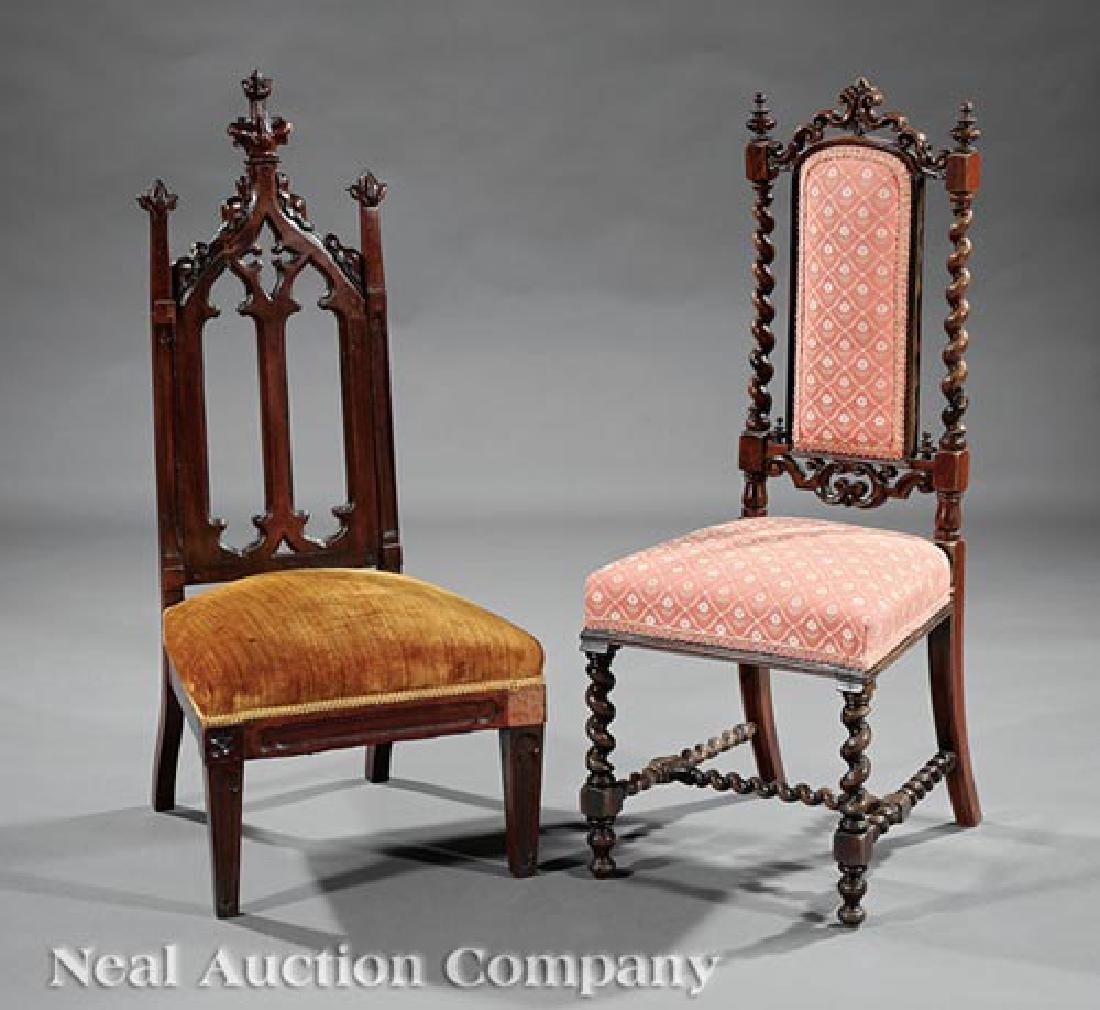 Two American Carved Hardwood Side Chairs