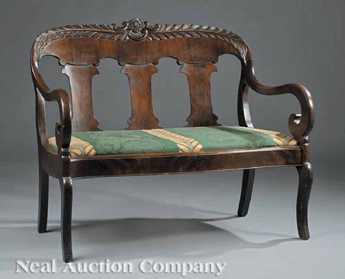 American Carved Mahogany Settee