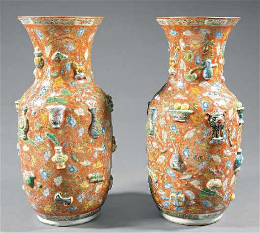 Chinese Polychrome Porcelain 100 Antiques Vases