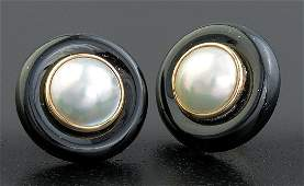 Gold, Mabé Pearl and Black Onyx Earclips