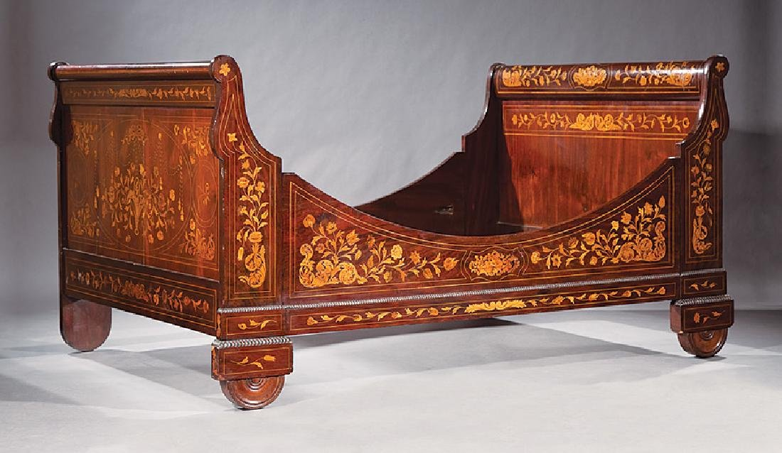 Dutch Marquetry Sleigh Bed