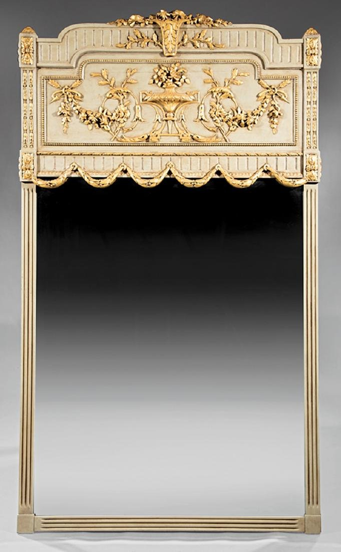 Italian Painted and Parcel Gilt Overmantel Mirror