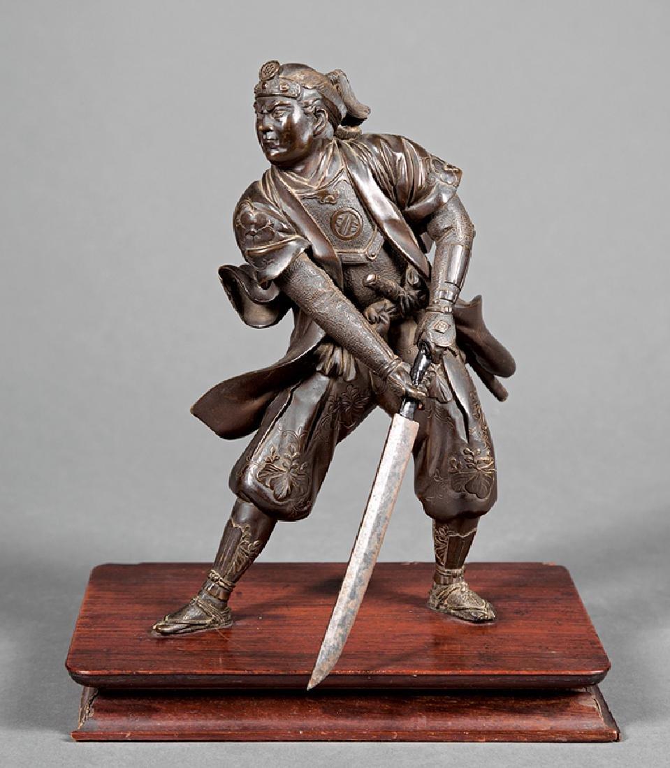 Japanese Bronze Figure of a Warrior