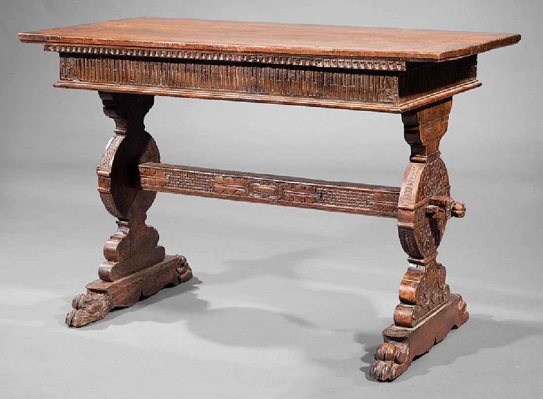 Spanish Carved Walnut Trestle Table
