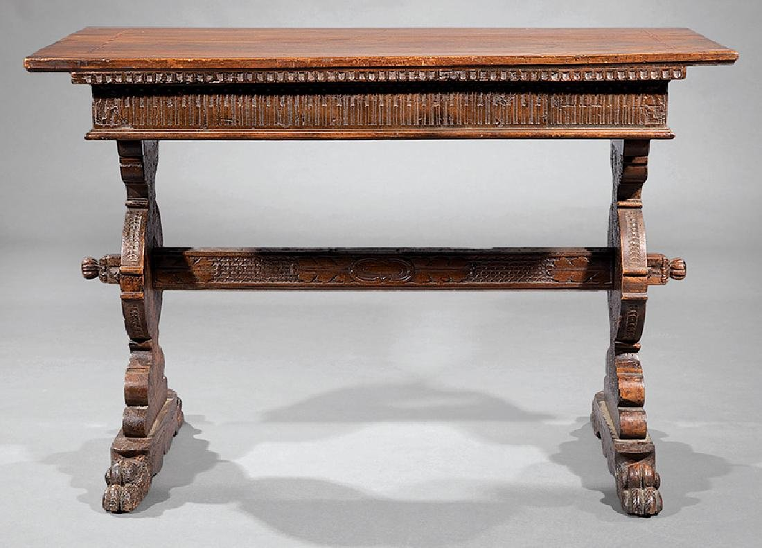 Spanish Carved Walnut Trestle Table - 3