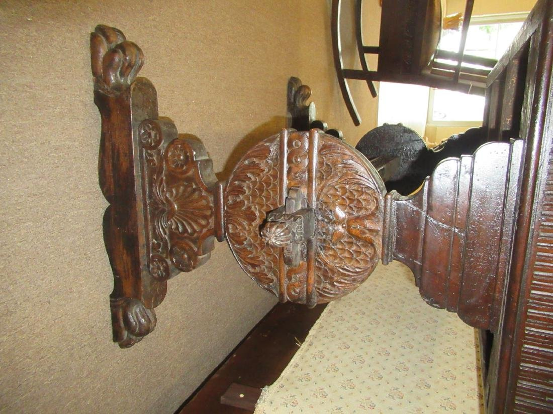 Spanish Carved Walnut Trestle Table - 6