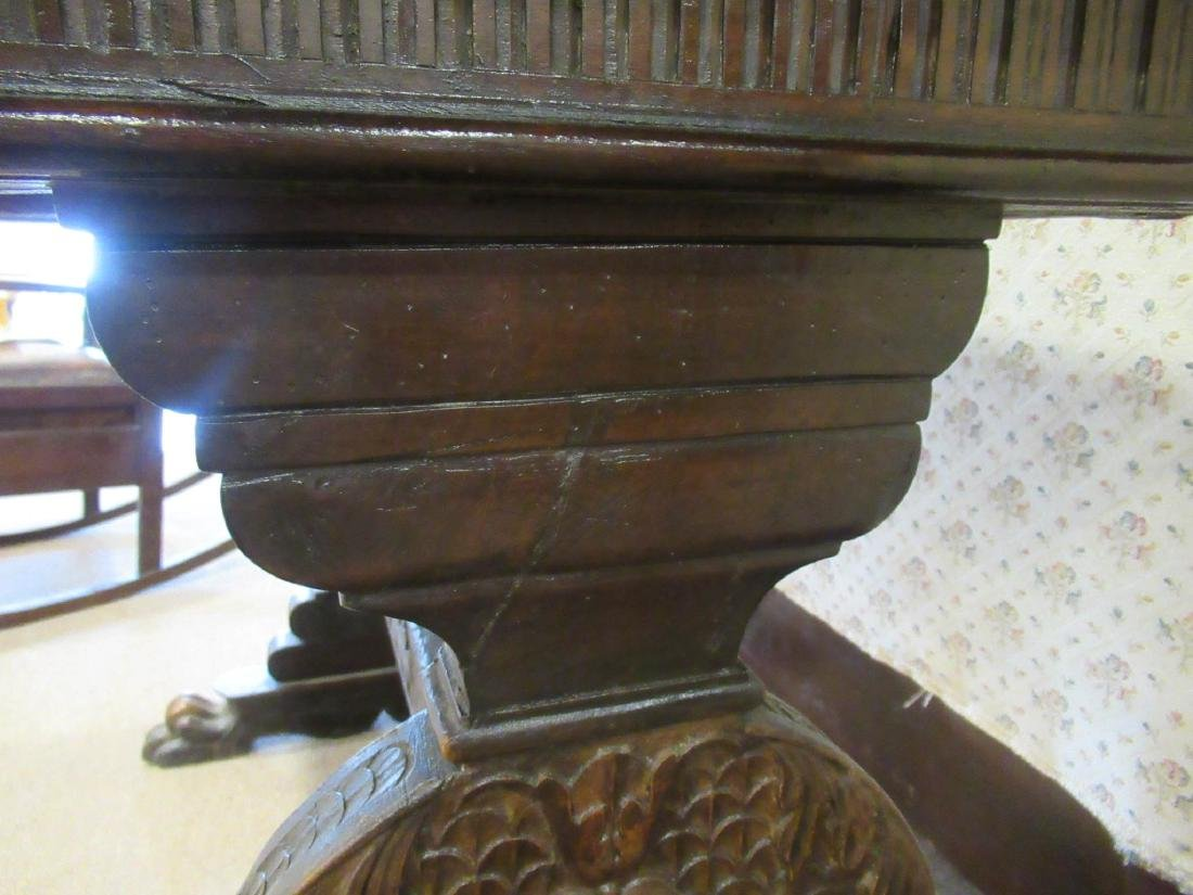 Spanish Carved Walnut Trestle Table - 7