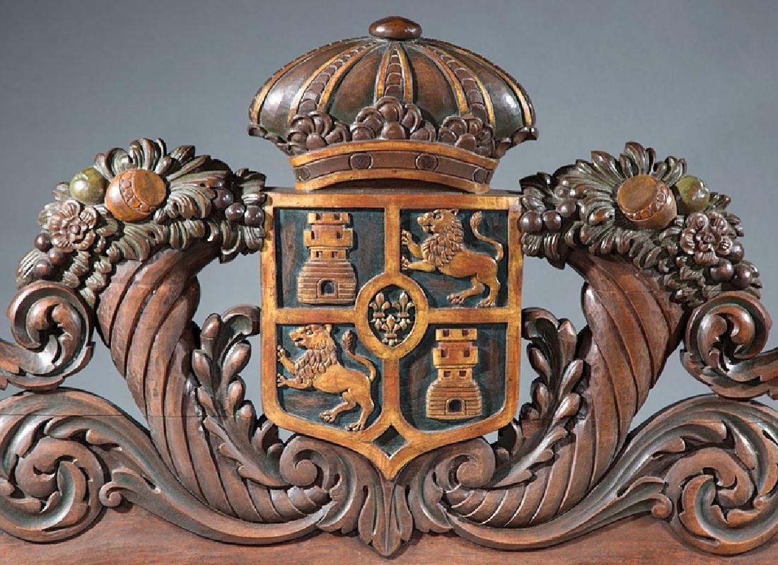 Highly Carved and Parcel Gilt Hardwood Bedstead - 2