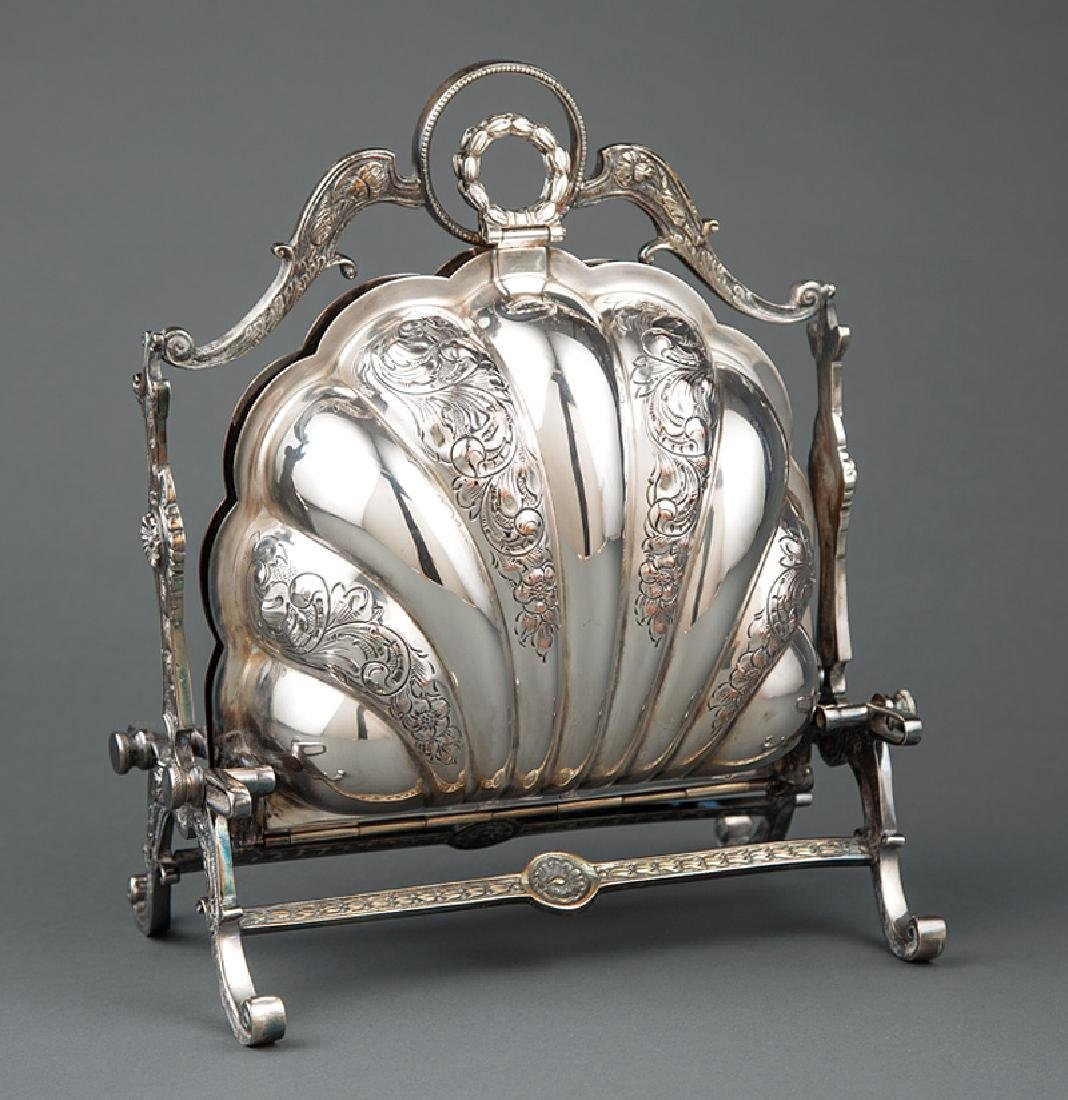 English Silverplate Shell-Form Biscuit Box