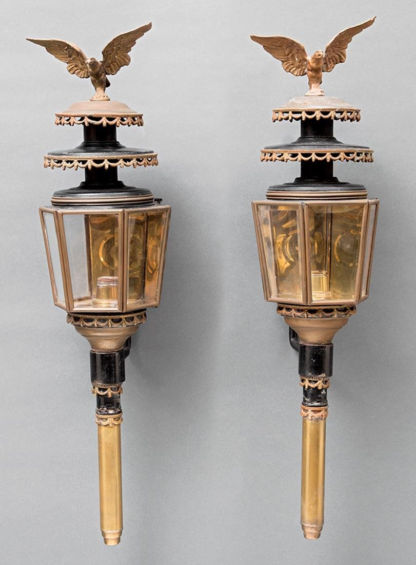 American Brass and Tole Peinte Carriage Lamps