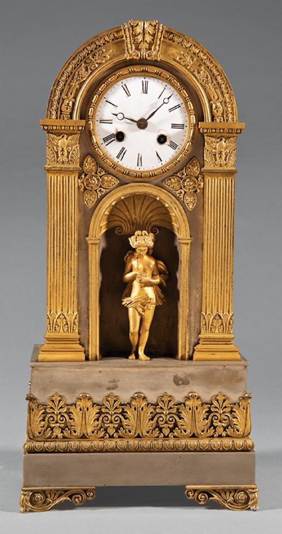 Louis Philippe Gilt, Silvered Bronze Mantel Clock