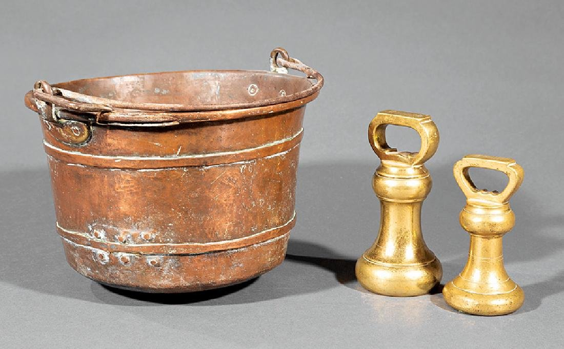Copper Pot and Two Late Georgian Brass Weights