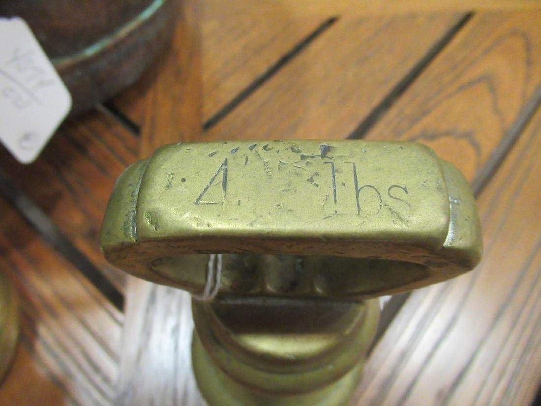 Copper Pot and Two Late Georgian Brass Weights - 4