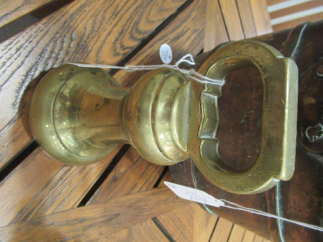 Copper Pot and Two Late Georgian Brass Weights - 5