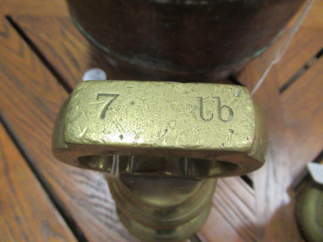 Copper Pot and Two Late Georgian Brass Weights - 6