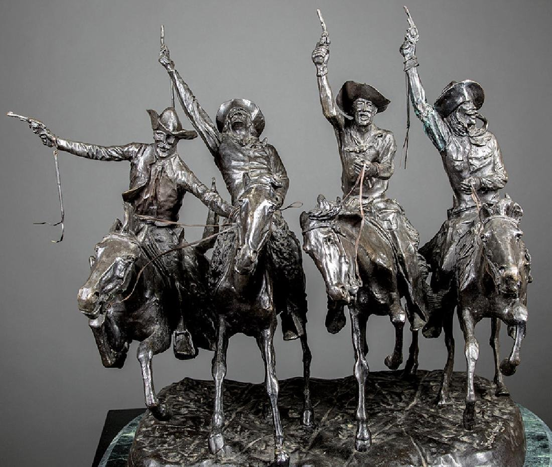 Bronze Figural Group of Four Cowboys - 3
