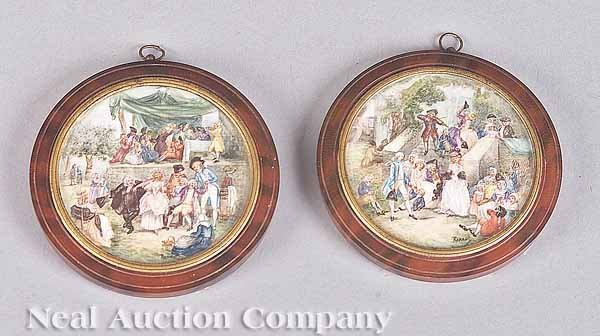 0001: Pair of Circular Scenic Miniatures on Ivory