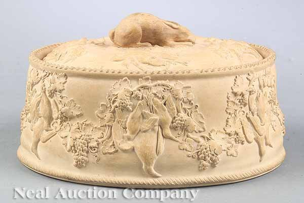 0004: Antique Wedgwood Cane Ware Game Pie Dish