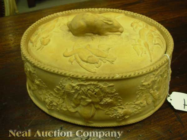 0004: Antique Wedgwood Cane Ware Game Pie Dish - 8