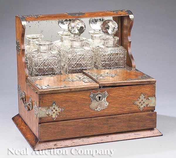 0015: Victorian Silverplate-Mounted Tantalus Set