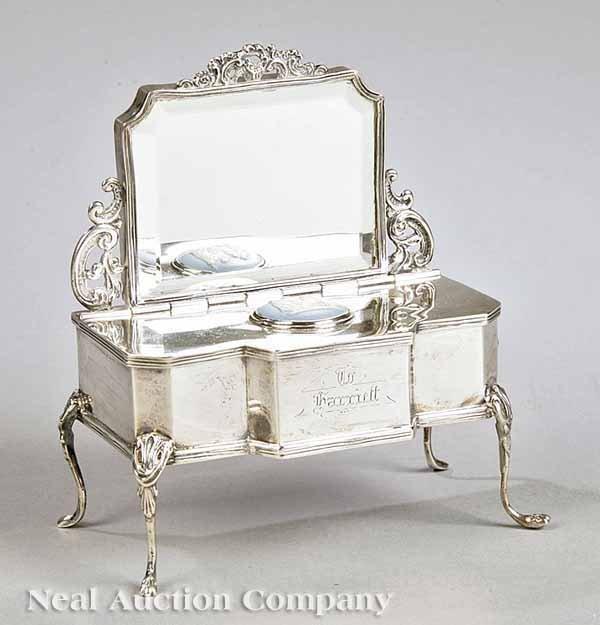 0016: Edwardian Sterling Silver Jewel Casket