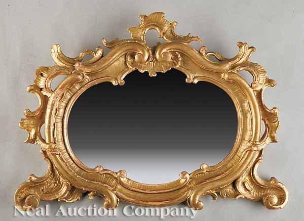 0020: Antique Italian an Rococo Giltwood Mirror