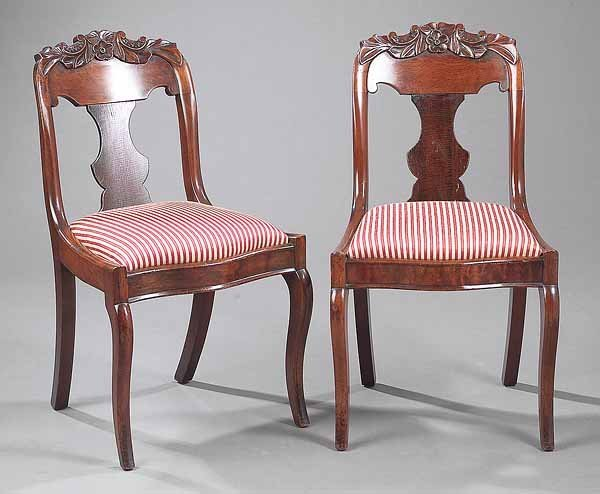 0024: Pair of American Carved Mahogany Side Chairs
