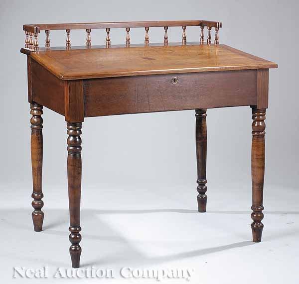 0025: American Classical Walnut Schoolmaster's Desk