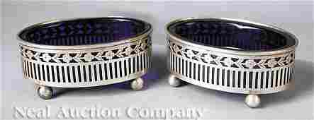 0189 Pair of Sterling Silver and Cobalt Glass Salts