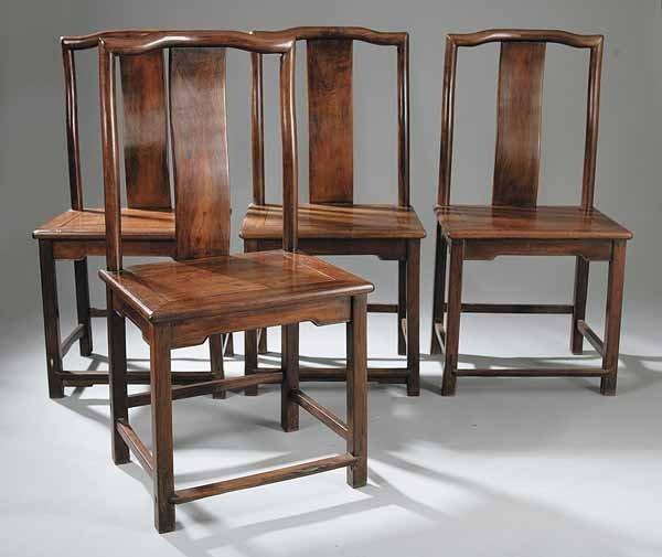 0364: Set of Four Fine Huanghuali Yoke-Back Side Chairs