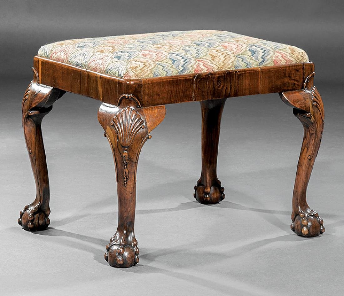 George II Carved Walnut Stool
