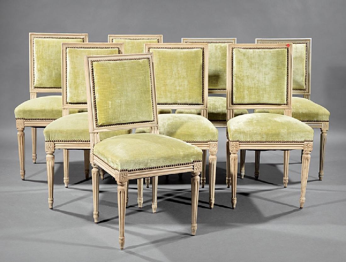 Eight Louis XVI-Style Creme Peinte Side Chairs